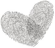 Love text heart shape design. Romantic heart shape made with text design two fingerprints crosses each other in love Stock Image
