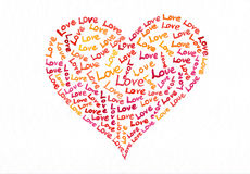 Love text heart watercolor painting Stock Photography