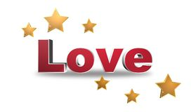 Love. Text 'love' in red uppercase 3D letters with three gold stars above and three below on a white background Stock Photo