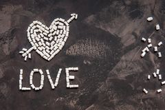 Love text made of white heart marshmallow, decoration for love Stock Photos