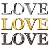Love text metal effect Royalty Free Stock Image