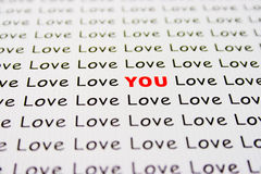 Love text on paper. An original Love You inscription on white paper Royalty Free Stock Photos