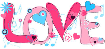 """Love Text in Pink and Blue. Abstract concept collage of hand drawn """"Love"""" text and hearts, flowers and musical notes in pink and blue Stock Photo"""