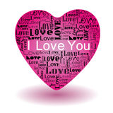 Love text in pink heart Stock Image