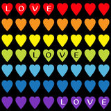 Love text Rainbow heart set. Gay flag color. Seamless Pattern. Wrapping paper, textile template. Lgbt sign symbol. Black backgroun Stock Photos