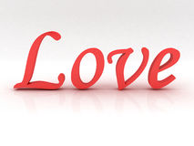 Love text in red. On white Stock Photos