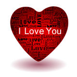 Love text in red heart Royalty Free Stock Image