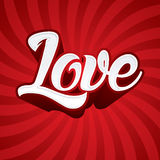 Love text. On red line spin background, Vector Stock Photos