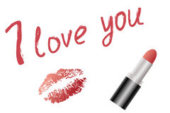 Love text and red lipstick and lip imprint Royalty Free Stock Images