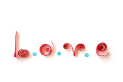 LOVE text from red paper with blue clasper Stock Photo
