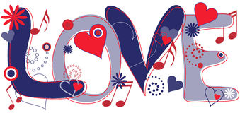 """Love Text in Red White and Blue. Abstract concept collage of hand drawn """"Love"""" text and hearts, flowers and musical notes in Red White and Blue Stock Images"""