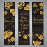 Love text on set of banners Romantic lettering with glitter. Golden text with sparkles. Cards for valentine day. Vector. Love text on set of banners Romantic stock illustration