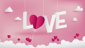 LOVE text of Valentines paper art conception. Royalty Free Stock Images
