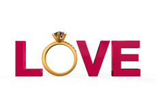 Love Text with Wedding Ring Royalty Free Stock Photography