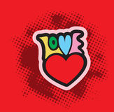 Love Text With Heart Symbol Romantic Background. Stock Photos