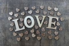 Love text with wooden letters Stock Photo