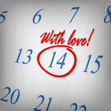 With love text written on calendar page Stock Photos
