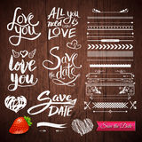 Love Texts, Borders, Symbols on Wooden Background Stock Image