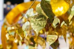 We love thailand written on Golden Leaf Stock Image