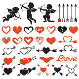 Love them set, cupids,amours,  hearts, arrows, valentine`s day. Love theme set, cupids, amours, hearts, arrows, valentine`s day illustration  on white background Stock Images