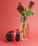 Love theme black box gift with red roses in vase. Happy Valentines Day black box with red ribbon gift and red rose, against a red background Stock Photography