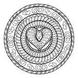Love theme. Circle tribal doodle ornament with heart. Hand drawn art mandala. Stock Image