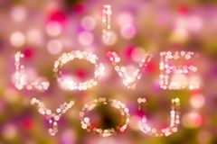 Love theme concept bokeh bacground i love you Valentine`s background Royalty Free Stock Image