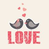 Love theme with cute birds Stock Photo