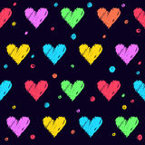 Love theme. Handmade hearts seamless pattern background. Stock Images