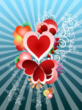 Love theme with hearts and sun beams Stock Images