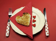 Love theme Valentine breakfast table setting Royalty Free Stock Photo