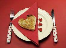 Love theme Valentine breakfast table setting Royalty Free Stock Photo