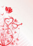 Love theme vector. Pink tulip and design elements for your business Stock Image