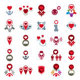 Love theme vector icons set, conceptual valentine and romantic s Stock Photo