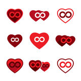 Love theme vector icons set, infinite love idea, conceptual Stock Photo