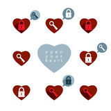 Love theme vector icons set with padlock and key, open your hear Stock Photography