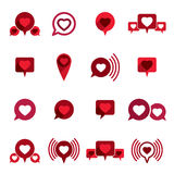 Love theme vector icons set, romantic dialog, conceptual valenti Royalty Free Stock Photos
