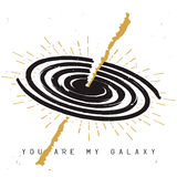 Love themed phrase `you are my galaxy`. Spiral milky way galaxy sketch with gamma-ray burst and love themed phrase `you are my galaxy`. Sun burst on the Stock Photography