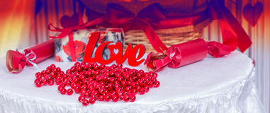 Love Themed Table for Wedding or Valentines Day Royalty Free Stock Images