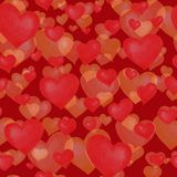 Love themes seamless texture. Red seamless pattern with red hearts isolated on white. stock image