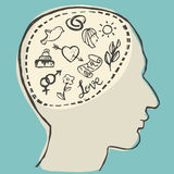 Love thinking. Human head with love thoughts inside, vector illustration Stock Image