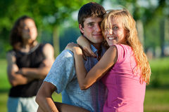 Love and a third man stock image