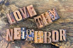Love thy neighbor family message Stock Photo