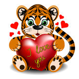 Love the tiger with the heart Stock Images