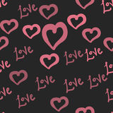 Love tile in pink hearts valentine`s day seamless pattern wallpaper dark background illustration vector. Love theme in pink hearts valentine`s day seamless Royalty Free Stock Photography