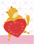 Love time of cat. A yellow striped cat is holding a heart shaped watch clock Royalty Free Stock Images