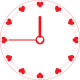 Love Time Clock. Love every hour in time with heart object Stock Image