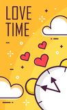 Love time poster with alarm clock and clouds on yellow background. Thin line flat design. Vector.  Royalty Free Stock Photo