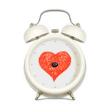 Love and time. White alarm clock with red heart in clock face center, without minute hand and without hour hand, on light background. Love and time concept Royalty Free Stock Image