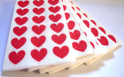 Love tissues. Tissues with hearts in red and white color Stock Photography